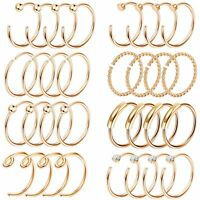 32PCS 20G Nose Hoop Ring C-Shaped Nose Stud Stainless Steel Piercing Jewelry Set