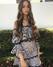 New TALULAH Grey Black Guipure Lace Off-Shoulder Trumpet Sleeve Mini Dress S