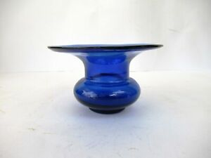 "Antique Blue Glass Spittoon Late 1800'S Vintage 19Th Century Hand Blown Rare ""F"