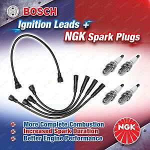 4 x NGK Spark Plugs + Bosch Leads Kit for Nissan 1200 Pulsar N10 Sunny Vanette