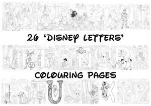 DISNEY LETTERS Colouring Pages - 26 Sheets - Perfect for Rainy Days & Holidays!