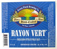 Green Flash Brewing RAYON VERT beer label San Diego CA  12oz