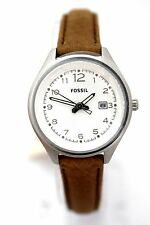 FOSSIL WOMEN AM4379 Quartz Silver dial Brown Leather Strap Brand New Box $75