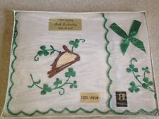 """Vintage Irish Embroidery Clovers Linen Tray Cloth 14"""" x 20"""" New In Box"""