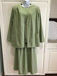 Women's Alfred Dunner 3-Piece Blazer/Skirt/Shirt Set Size 20/18/16 Green