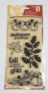 🍁🎃 AUTUMN GREETINGS Clear Stamps Inkadinkado 98549 Fall Pumpkins Acorns Leaves