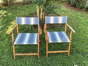 2 Vintage Wood & Canvas Folding DECK CHAIR SET pool beach patio Lawn