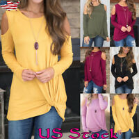 Women Cold Shoulder Blouse Long Sleeve Casual Plain Ladies Tops T Shirt Tee