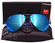 Ray Ban Titanium Aviator Sunglasses SHINY GUNMETAL_BLUE_BLUE MIRROR 8058 004/55