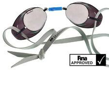 BECO Swedish Competition Swim Goggles - Silver Mirror Lens - Black Frame