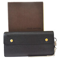 Auth LOUIS VUITTON Accordion Long Bifold Wallet Taiga Leather BK M30992 05MG158