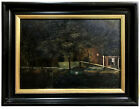 OIL ON PANEL Dutch ~ CANAL IN AMSTERDAM ~ Barges ANTIQUE PAINTING FRAMED