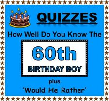 Fun Party Games 'How Well Do You Know 60th Birthday Boy' + 'Would He Rather'