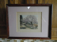 Vintage Framed Wallace Nutting Signed Hand Tinted Art Print An Orchards Border