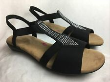 NEW Ros Hommerson Women's  13 M Flat Slingback Dress Sandals Black Rhinestones