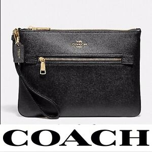 Coach Crossgrain Leather Gallery Pouch in Black