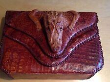 Unique Vintage Purse Hand Bag Genuine Baby Alligator Skin Leather All Handmade