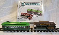 2 HO-Scale Classic Streetcars Powell & Mason Cable Car & Desire St. Trolleys NIB