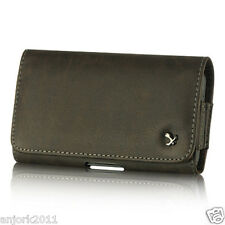 BROWN LEATHER CASE BELT CLIP HORIZONTAL POUCH SAMSUNG GALAXY SIII 3 SII 2