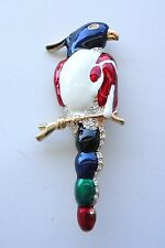Parrot Brooch Multi-Color Enamel Yellow Gold Plated Bird Pin Crystal Stone New