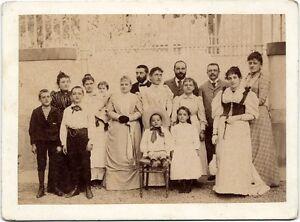 Italy Large cabinet of an Italian family Men Women Children Albumen photo 1890c