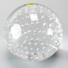 Adam Jablonski Lead Crystal Art Glass Paperweight Poland Clear Geometric Bubble