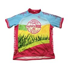 "Primal Men's XL Denver Post ""Pedal The Plains"" Cycling Jersey Pink Blue 2014"