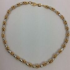 14K TWO TONE YELLOW AND WHITE GOLD ANKLET