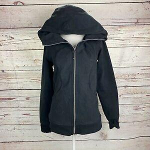 Lululemon Scuba Hoodie Fleece Jacket Sz 6 Black Hooded Zip Up Logo Pockets