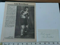 RARE LOU BROUILLARD SIGNED CARD WITH MAGAZINE PAGE  COA - OFFERS ACCEPTED