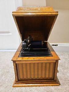 Antique Working 1913 EDISON Amberola 30 Oak Case Wind-Up Cylinder Phonograph