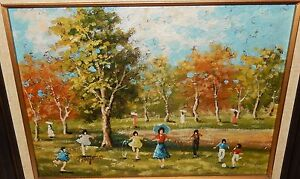 HAYDEN CHILDREN PLAYING IN A PARK ORIGINAL OIL ON CANVAS PAINTING