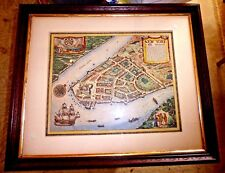 ANTIQUE LOVELY MAP OF NEW YORK 1674 HAND COLORED LOWER MANHATTAN BROOKLYN c.1900