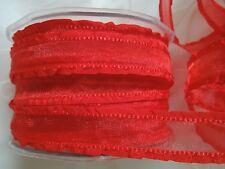 MAY ARTS RIBBONS~SHEER BRIGHT RED RIBBON WITH RUFFLE EDGE~5/8THS INCH X 3 YARDS!