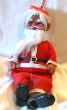 """Antique Sitting Santa Celluloid 10"""" Cloth Body See Pictures 1930s"""