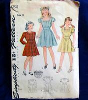 Girls Dress Square Neckline Size 12 Vintage Sewing Pattern Simplicity 4296