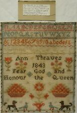 More details for mid 19th century motif, quotation & alphabet sampler by ann thraves - 1843