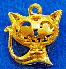 10Pcs. Tibetan Bright Gold Cat Kitty Puffy Pendants Charms Earring Drops C14B