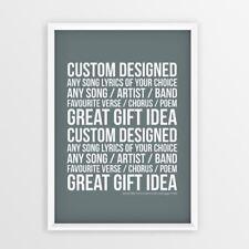 Custom designed ANY Song lyrics of your choice favourite verse / chorus / poem