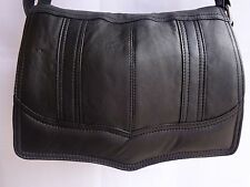 Soft Leather Flap over Shoulder Bag Adjustable Strap Black