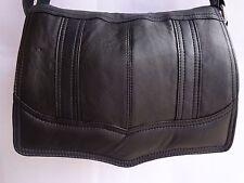Soft Leather Flap over Shoulder Bag Adjustable Strap Black