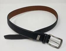 Greg Norman Black Leather Belt Silver Tone Buckle Size 34