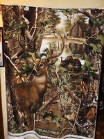 Real Tree Buck Deer with Turkeys and Cabin Fleece Fabric Panel-- New