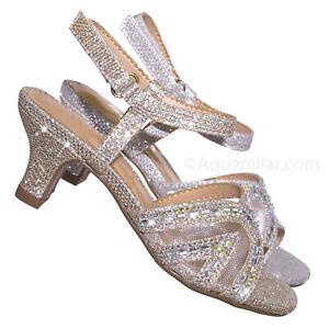 Helios2 Children/'s Girl Round Toe Dress Pump w Glitter /& Rhinestones
