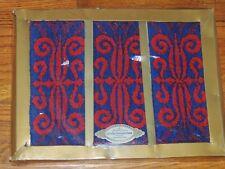 VINTAGE GOLDEN CROWN GUEST TOWELS SET of 3 RED BLUE