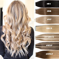Straight/Wavy Tape In Remy Skin Weft 100% Human Hair Extensions Full Head 200g+