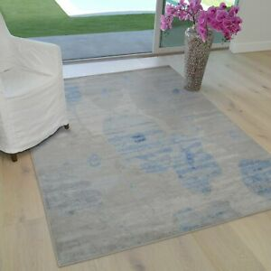 Rugs 8x10 Area Rug Abstract Modern Contemporary Floral 5x7 blue gray Carpet