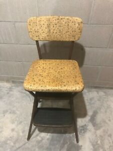Vintage COSCO Kitchen Metal Step Stool Chair With Flip Up Seat