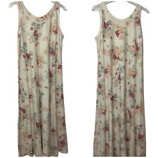 Crabtree & Evelyn Floral Tank Long Lounge Dress Nightgown 100% Cotton Soft