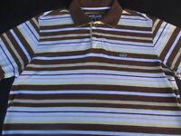 Ecko Unltd Mens Pullover Knit Short Sleeve Cotton Stripe Logo Polo Shirt Large L